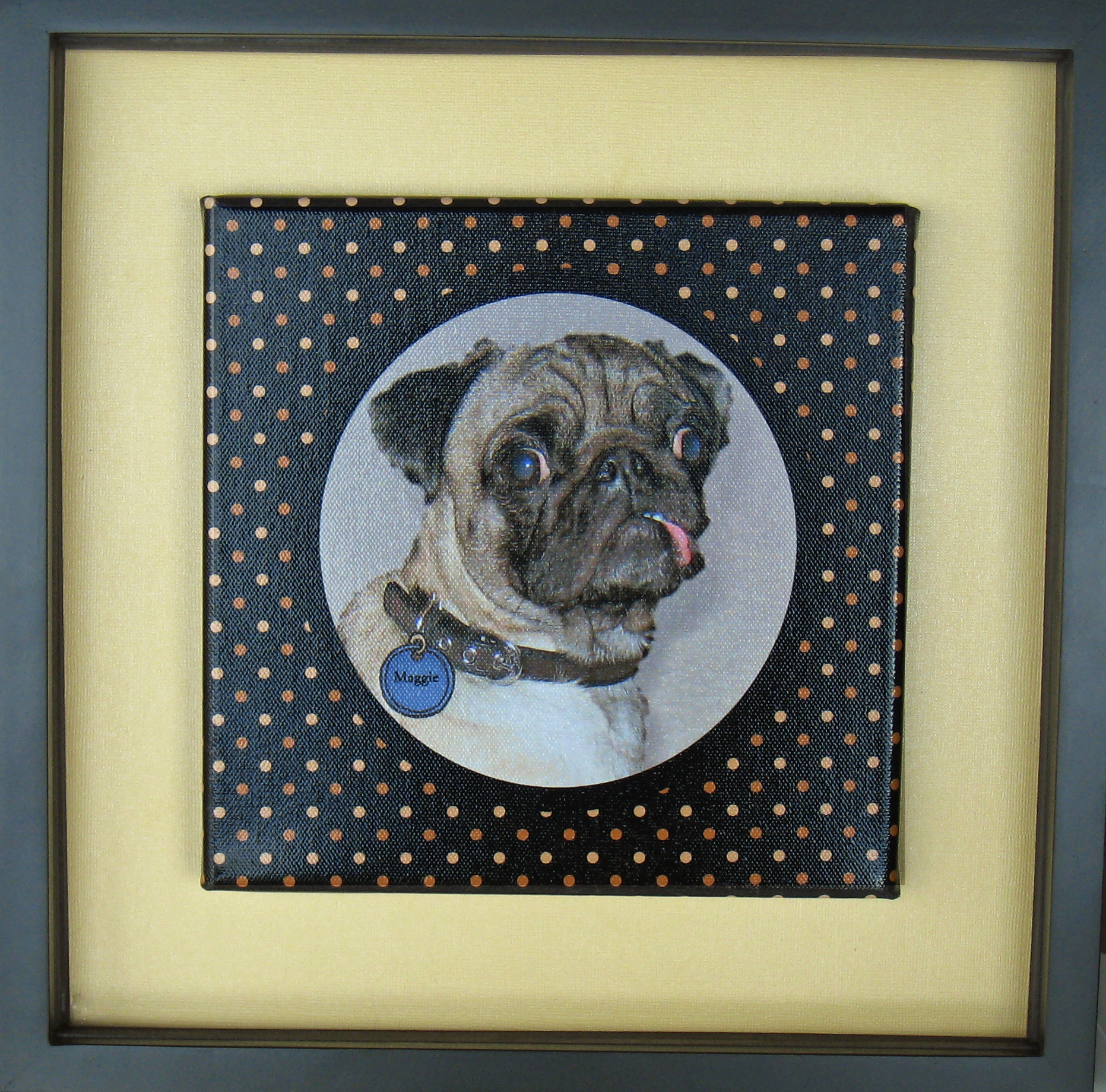 Shows the final framed canvas of Maggie.