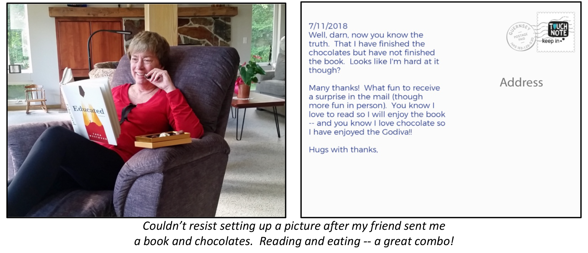 The image shows a photo of a person reading a book and munching on chocolates for the front of the postcard and a picture of a thank you note and address space for the back of the postcard.