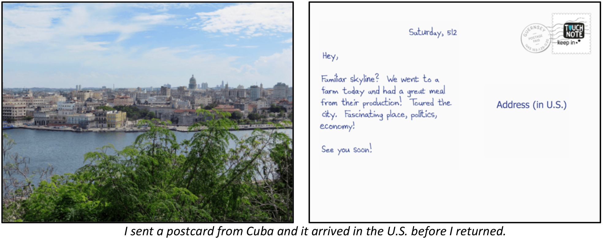 The image shows a photo of Havana's skyline for the front of the postcard and a picture of a note and address space for the back of the postcard.