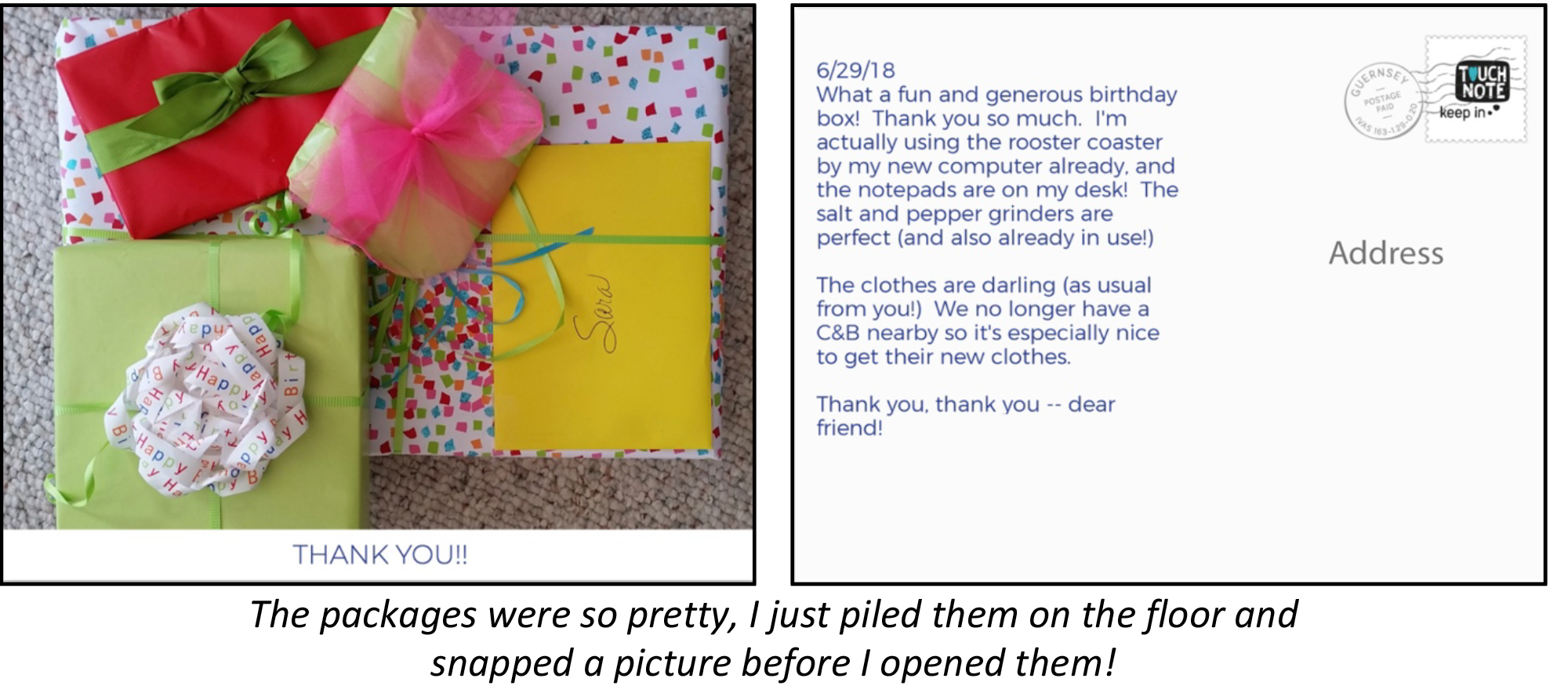 The image shows a photo of wrapped packages for the front of the postcard and a picture of text and address space for the back of the postcard.