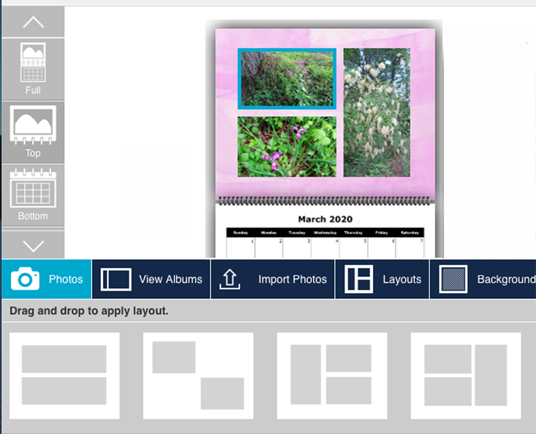 An example of a calendar in the process of creation on the Costco Photo Center site.