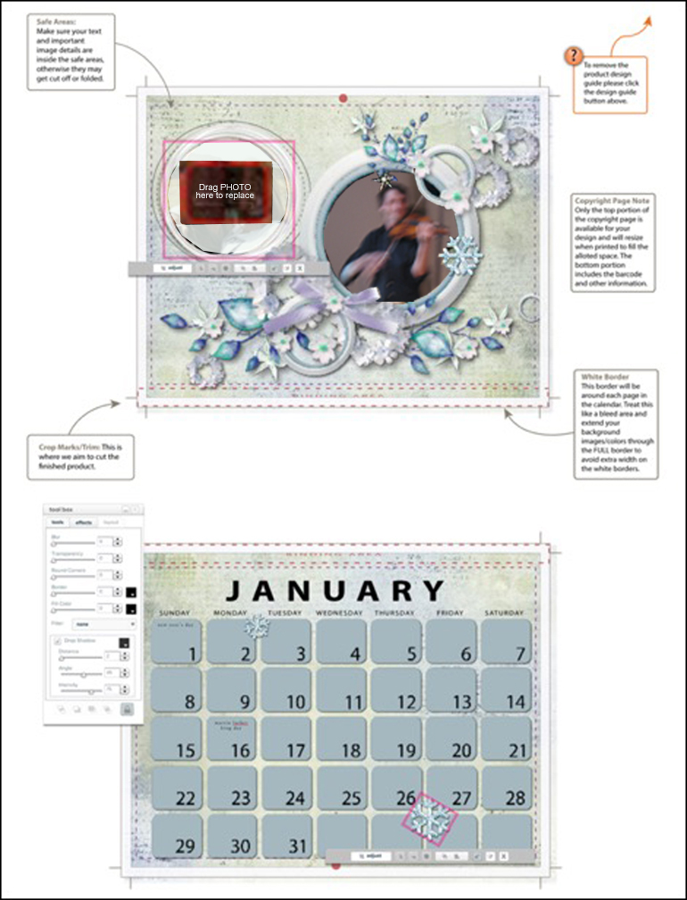 A photocrafting calendar of wedding pictures is an example of an Event theme.