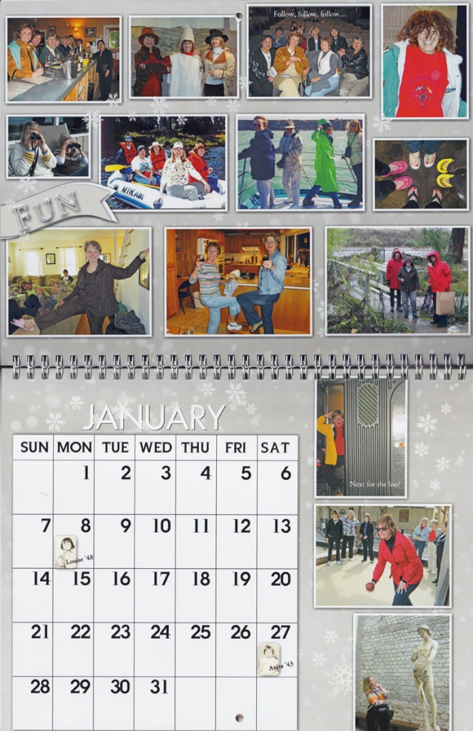 A reunion calendar of pictures collected over 20 years of trips with friends illustrates a wonderful Memories calendar.