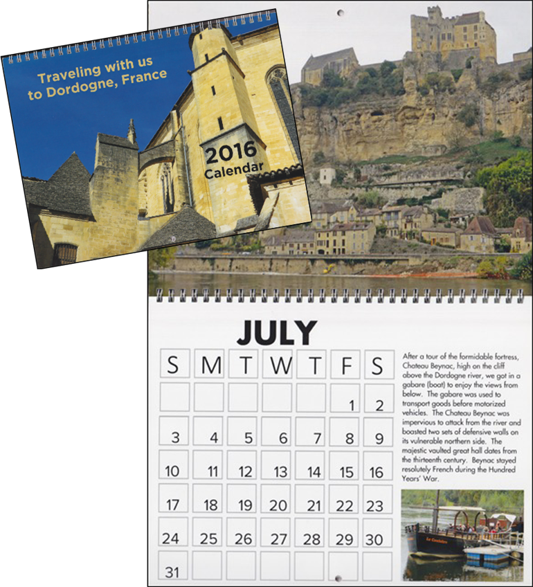 A calendar of pictures from a trip to France is an example of a Vacation theme.