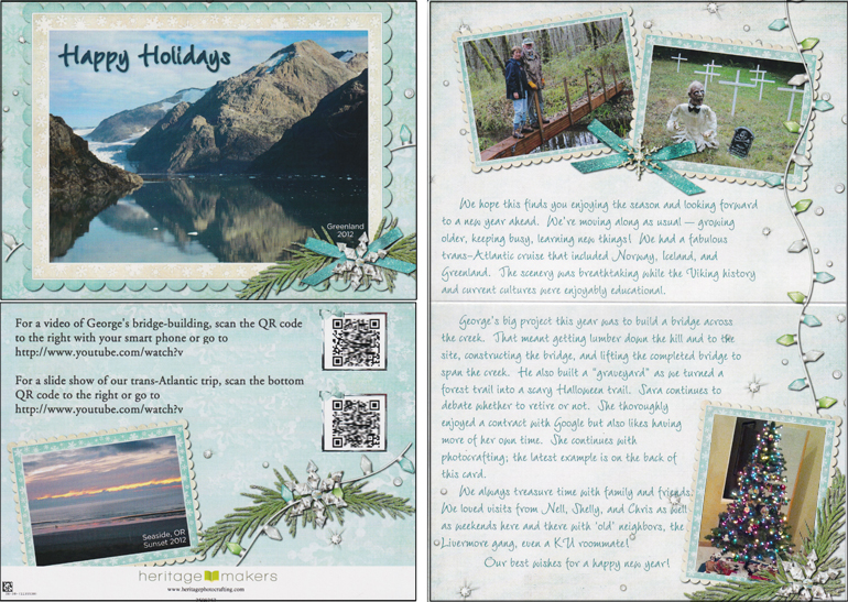 An example of a complex freestyle card (front, back, and inside) that incorporates multiple photos, text, artwork, and barcodes.