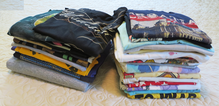 Part of the pile of t-shirts that I photographed for the book.