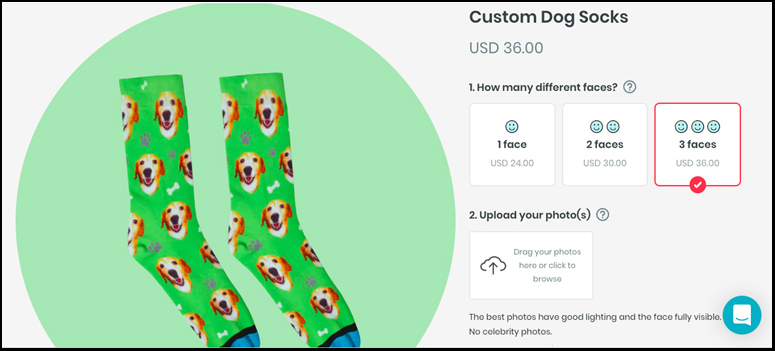 A screenshot showing the first few steps of choosing options for creating your photo socks.