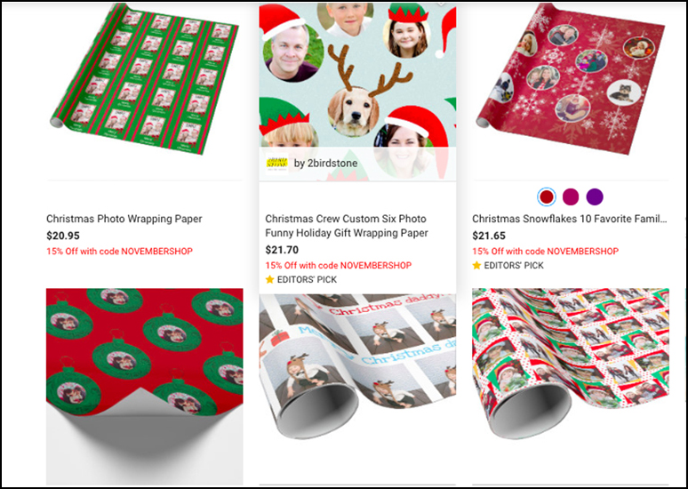Examples of photo gift wrap rolls from Zazzle.
