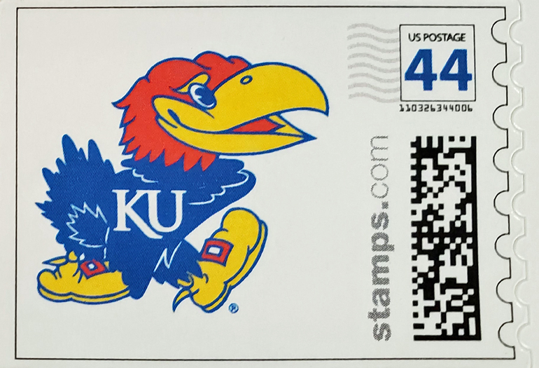 A stamp with an image of the University of Kansas Jayhawk and showing $0.44 postage as an example of a photo stamp.