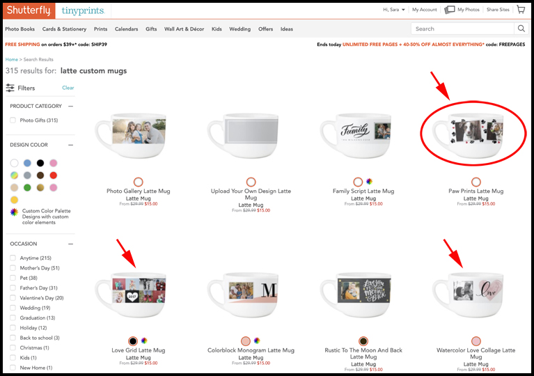 A screenshot from Shutterfly.com that shows a variety of mugs and coffee cups for photocrafting.