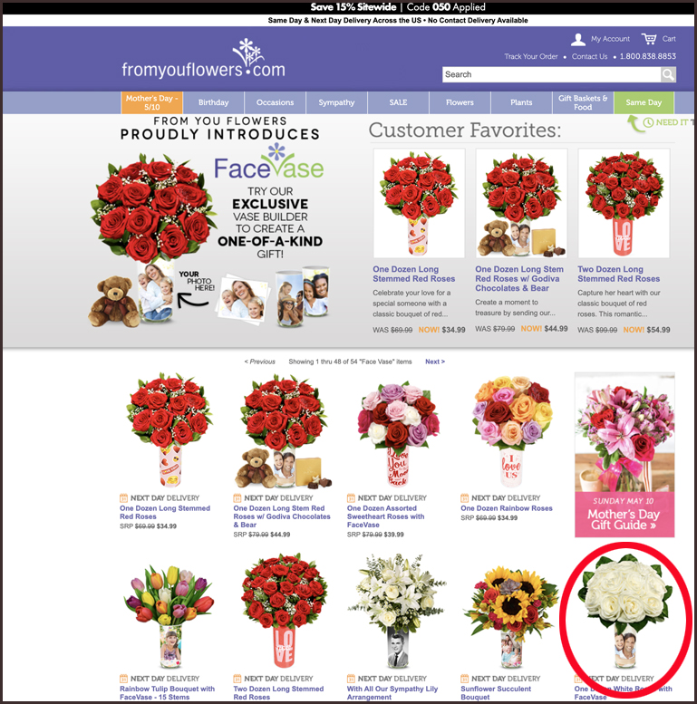 The first screen for fromyouflowers.com showing a range of flower and vase options.