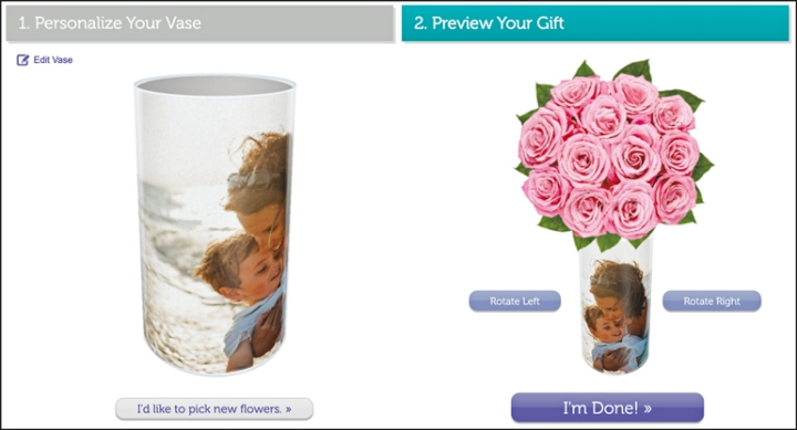 An image of the preview of the final vase shown both alone and rotating and as a still with the flowers included.