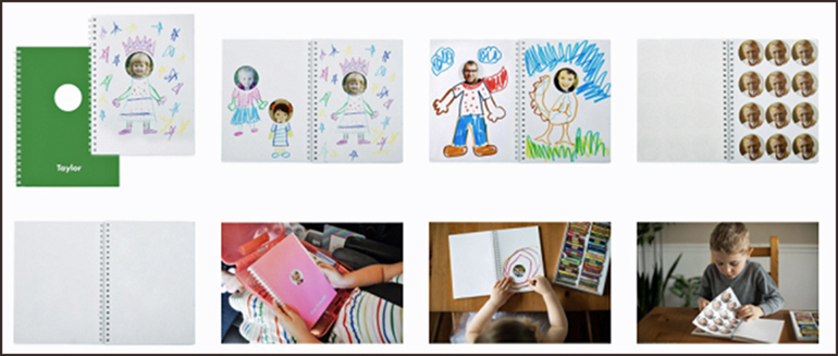 A collection of images showing how the sticker book can be used.