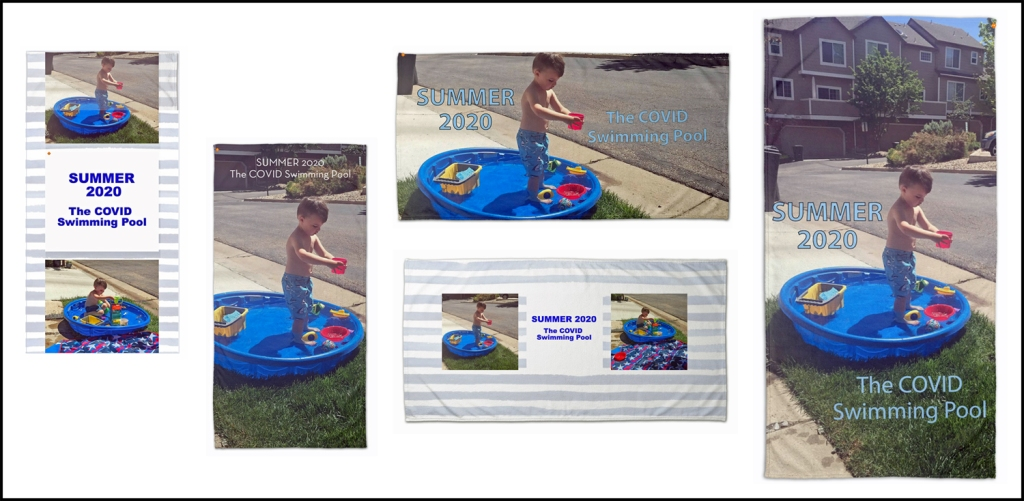 Image has five different layouts for a beach towel of a 3-year old in a shallow blow-up pool.  Each layout includes text, either as an image or in the Shutterfly text box.