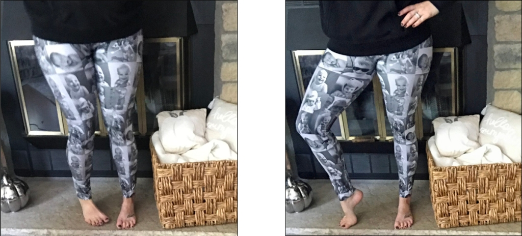 Two photos of a leggings I designed with 16 b/w photos to give to the mother of a toddler.