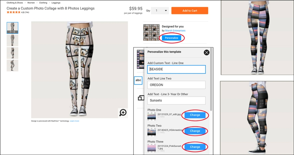 The image shows how to replace the template photos with ones you upload.  Images of the resulting preview are included.