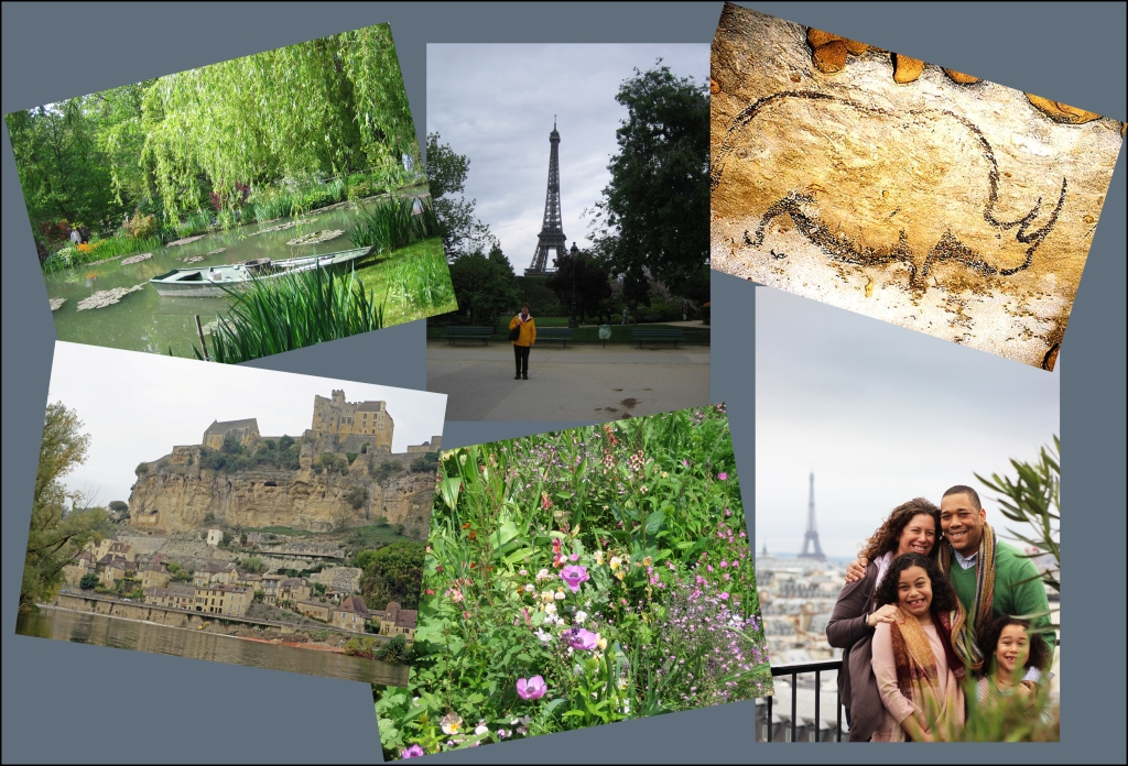 The image shows a collection of photos from a vacation in France.