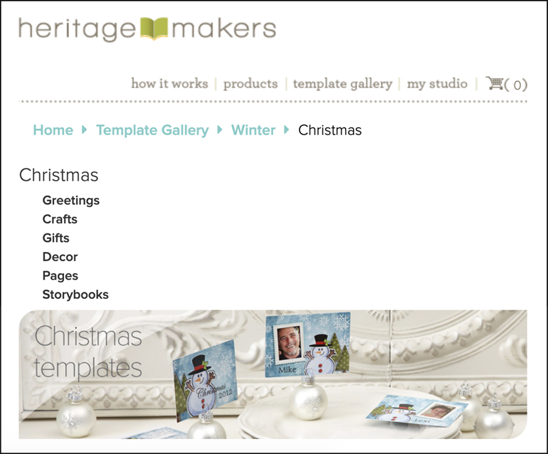 The image shows the Heritage Makers site for creating holiday (e.g. Christmas) cards.