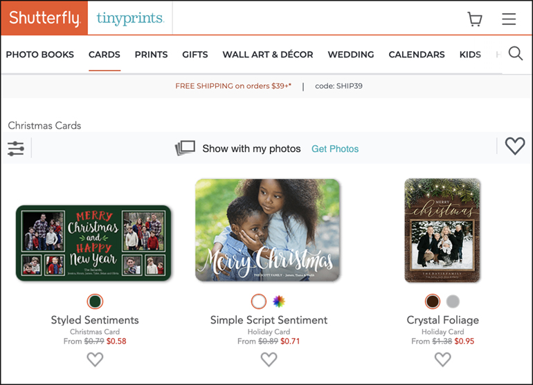 The image shows the Shutterfly site for creating holiday (e.g. Christmas) cards.