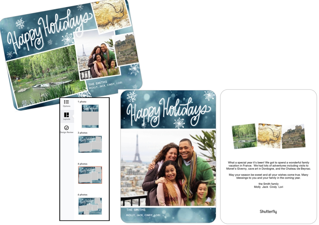 The image shows an example of a Shutterfly card.  The original card has four photos on the front, there is an option for selecting a different layout, and a final look at the front and back of the finished card with one photo on front and three on the back.