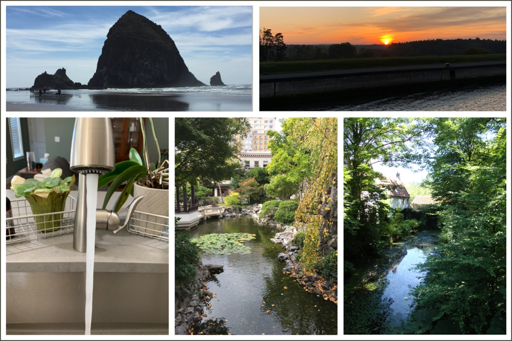 Five images, all showing water (two ocean photos, one faucet with water flowing, and two rivers.
