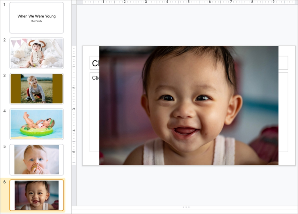 An image of creating a slideshow of baby photos.