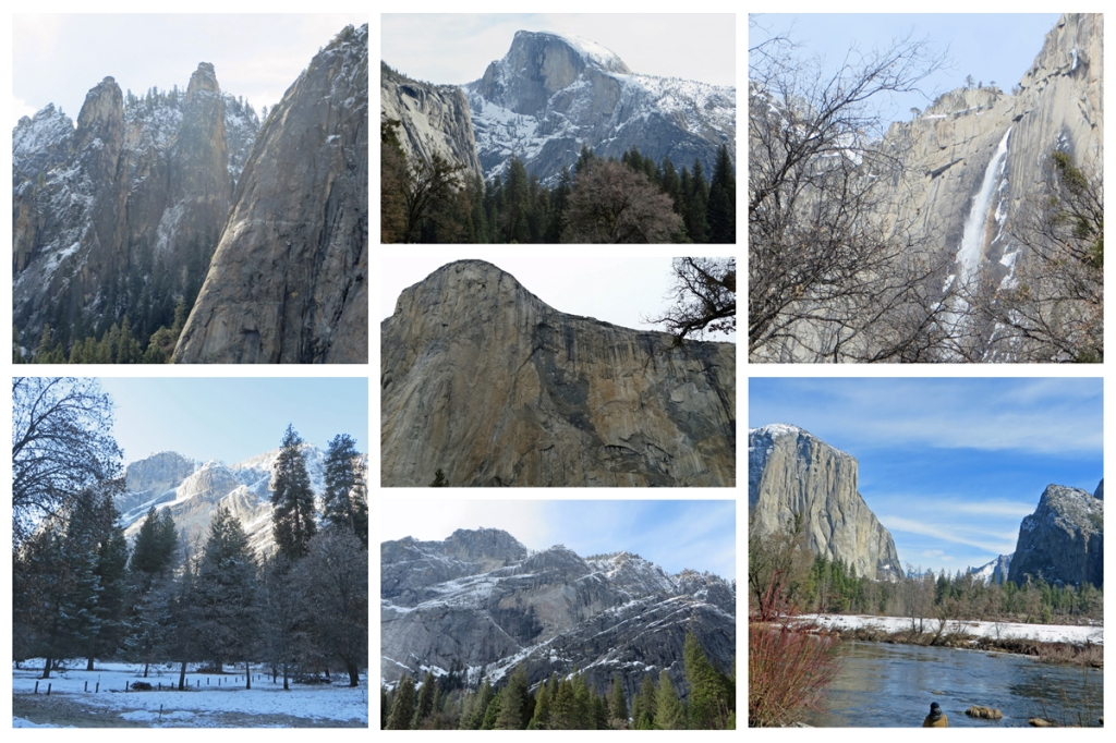 Seven photos of Yosemite in a collage image.