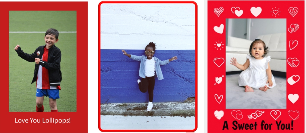 Three photos of children that I decorated for Valentine's Day with borders and text.