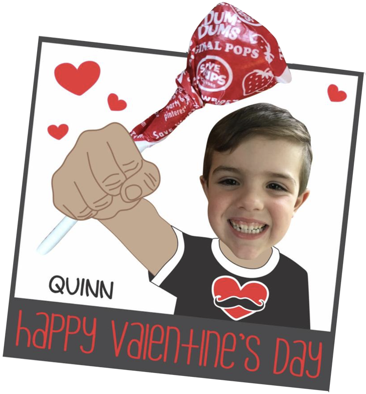 A lollipop card preprinted with the shirt, arm and fist so that only the face is added from a photo.