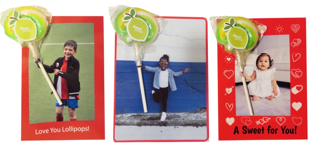 The same three photos of children that I decorated for Valentine's Day, printed, and cut slots to insert lollipops.