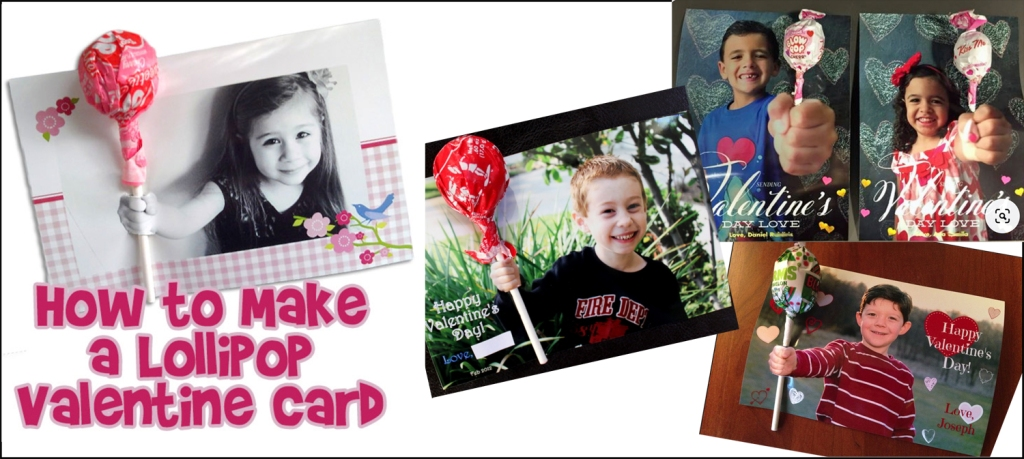 Four examples of photo cards, each with a lollipop attached.