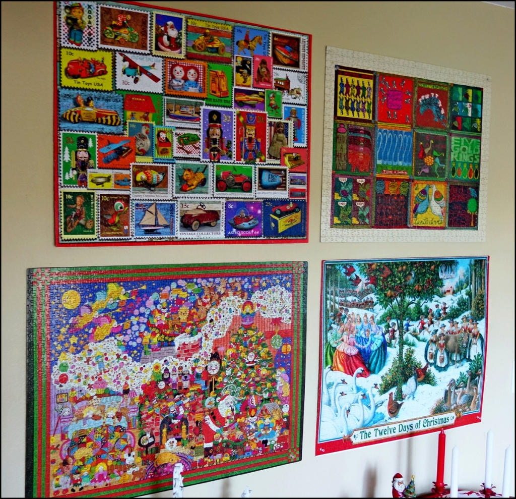 The pictures shows one wall on which some of the jigsaw puzzles are displayed for the Christmas holidays.