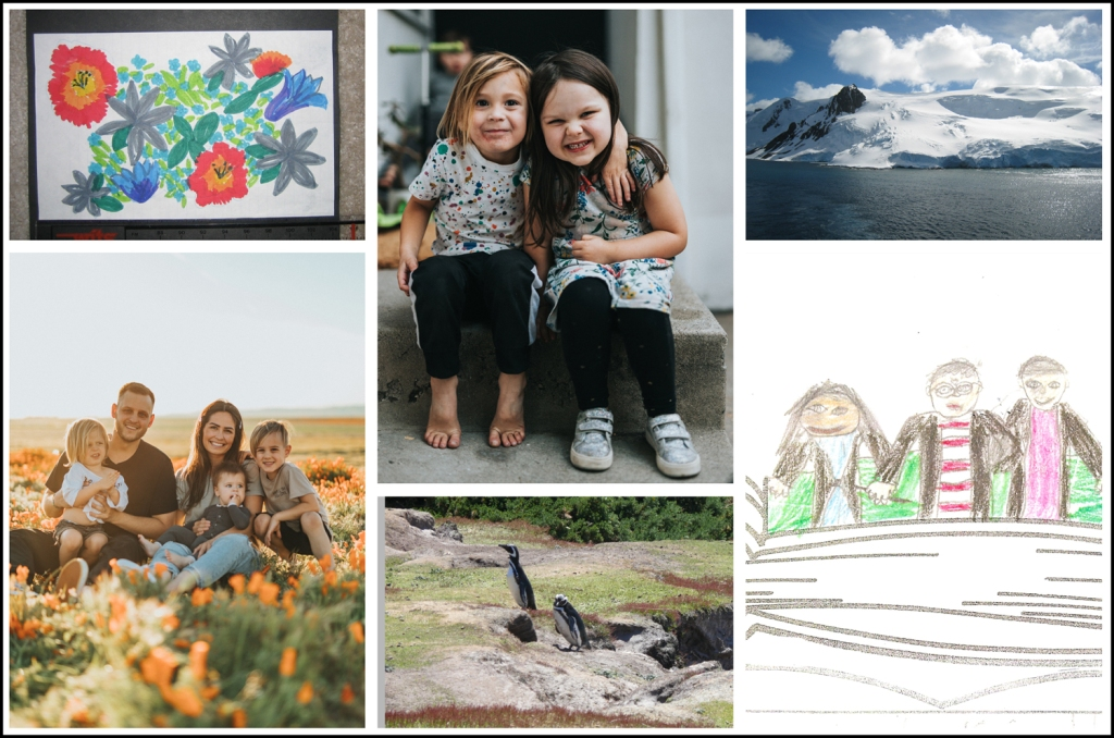 Six family photos show a child's drawing of flowers, a child's drawing of a family, a family portrait, two young girls, snow covered mountains, and penguins in the wild.