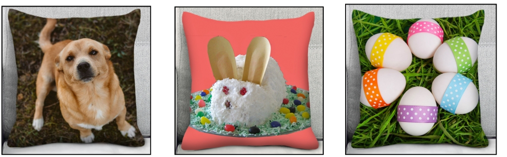 Three images of pillows that are examples of good Easter or spring gifts.