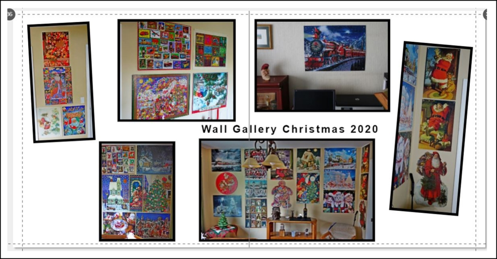 An image of a two page spread of various walls with jigsaw puzzles displayed during the Christmas holidays.