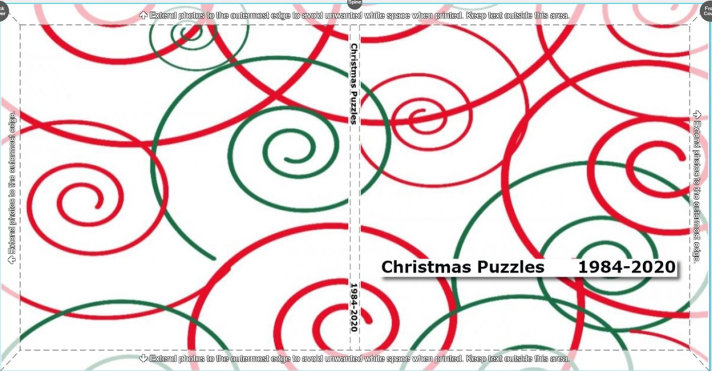 "The cover of the book is simply swirls of red and green with  the title ""Christmas Puzzles 1984-2020""."