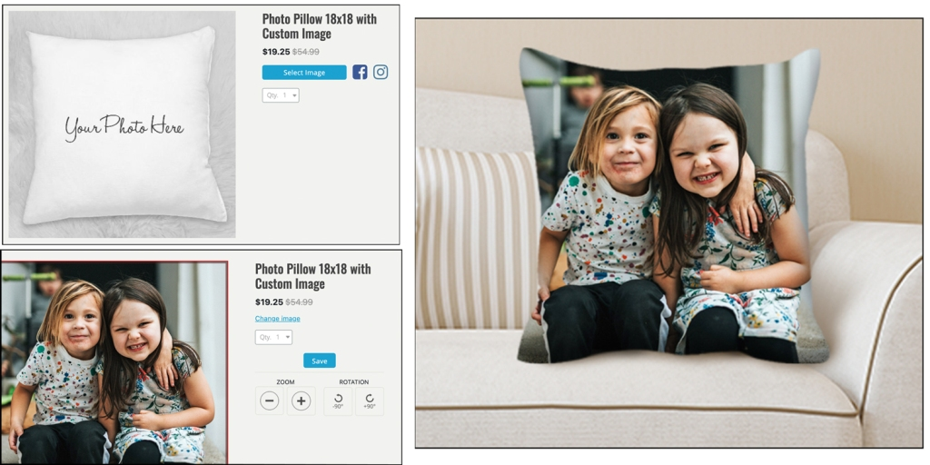 """The photo shows the pillow process with a preview of the two young girls on an 18""""x18"""" pillow."""