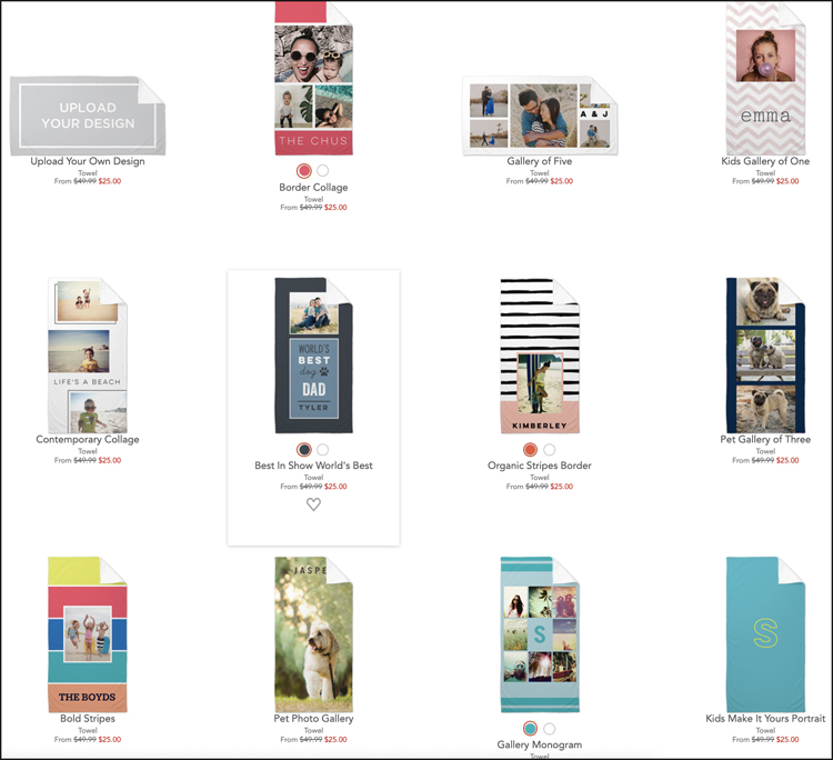 This shows a few of the layout options Shutterfly offers for beach towel designs.