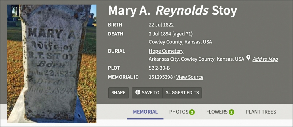 An image of the FindAGrave page for Mary Stoy that shows one of my photos alongside her basic information.  There's a tab for Photos that includes both photos I uploaded.