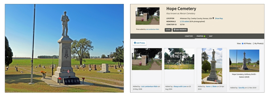 Two photos:  One is a picture I took near the main entrance to Hope Cemetery.  The other is the Hope Cemetery page in FindAGrave that includes the photo I uploaded along with three others added earlier by other users.