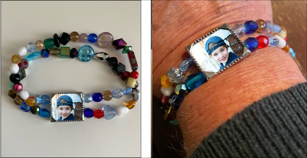 Two images, one of the bracelet and one of the bracelet on Shel's mom's wrist.
