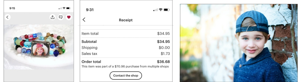 """Three images showing the bracelet that Shel chose, the receipt with the """"Contact the shop"""" button, and the original image to send."""