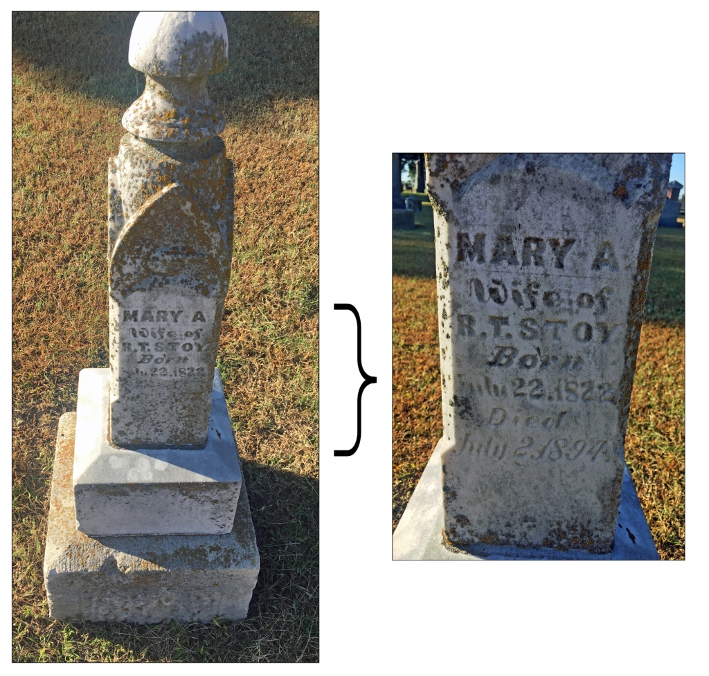 Two images of Mary Stoy's gravesite.  A column on a base and a close-up of the text on the column.