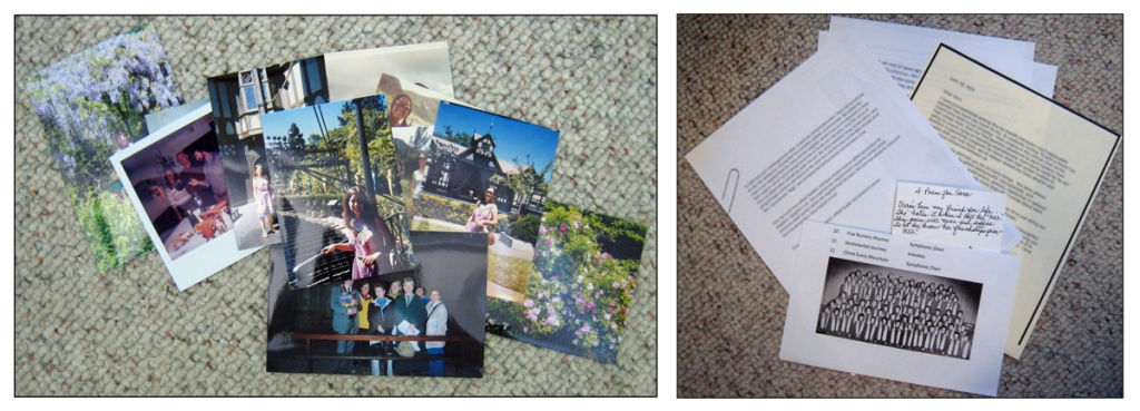 Two photos show a stack of photos and a pile of letters.