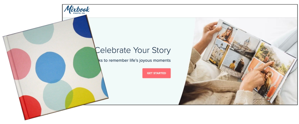 The Mixbook site header has my book superimposed on it.